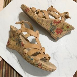 Born BOC leather floral heeled wedges